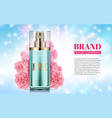 perfume bottle on soft blue background pink vector image vector image