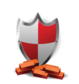 protection red shield vector image