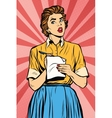 Retro waitress takes the order writes down meals vector image vector image