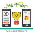 Safe mobile money transfering vector image vector image