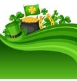 saint patricks day card flag pot gold coins vector image vector image