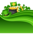 Saint Patricks Day card Flag pot of gold coins vector image vector image