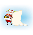 Santa Claus holding candy and standing beside vector image vector image