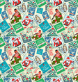 seamless background christmas postal stamps vector image