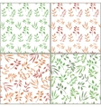 Seamless pattern set with orange and green twigs vector image