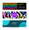 set horizontal color banners with rainbow waves on vector image vector image