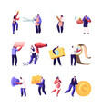 set male and female characters holding vector image vector image