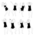 set of cheerful young womans dancing vector image vector image