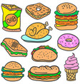 set of food style various doodles vector image vector image