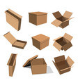 Set paper yellow boxes for packing goods on a