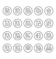 set round line icons document vector image vector image