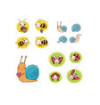 set with insects lovely cartoon bees snails vector image