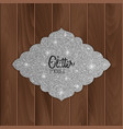 silver glitter greeting card on wood background vector image vector image