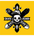 skateboard emblem with skull and boards vector image vector image