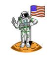 spaceman on moon hold american usa vector image