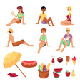 summer picnic set with people and food icons flat vector image vector image