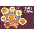 Sweet and savory pastry with cream soup icon vector image vector image