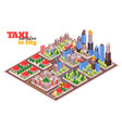 taxi navigation isometric composition vector image vector image
