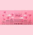 valentines day cute city doodle papercut heart vector image vector image