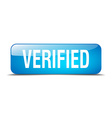 Verified blue square 3d realistic isolated web