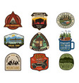 vintage travel logos patches set hand drawn vector image vector image