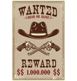 wanted poster template cowboy hat and revolvers vector image vector image