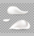 whipped cream drops big and small size set vector image