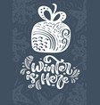 winter is here calligraphy lettering text hand vector image