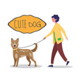 woman in casual cloth walking with her dog on vector image vector image