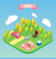 picnic in a park isometric objects vector image