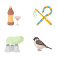bird alcohol and other web icon in cartoon style vector image vector image