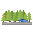 car involved accident vehicle crash forest road vector image
