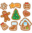 christmas gingerbread collection 1 vector image