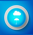 cloud with rain drop on umbrella icon isolated vector image vector image