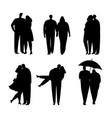 collection of black silhouettes of couples in love vector image vector image