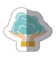 colorful sticker of hands holding a cumulus cloud vector image