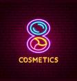 cosmetics neon label vector image