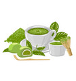 cup matcha tea surrounded powder whisk vector image