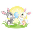 cute easter bunnies looking at easter egg vector image vector image