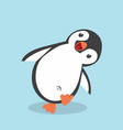 cute penguin cartoon in flat style vector image vector image