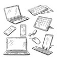 doodle of different devices laptop vector image vector image
