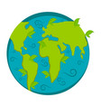 earth icon with leaves vector image