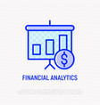 financial analytics thin line icon vector image vector image