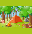forest scene with campfire and tent vector image