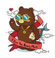 Hand drawn Cool Bear with Ribbon Greeting Card vector image vector image
