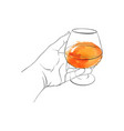 hand with cognac glass vector image vector image
