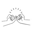 hands making promise outline concept vector image vector image