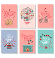 hygge cards with hand drawn cozy home vector image vector image