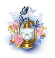 kerosene lamp with pink roses vector image