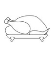 line art black and white roast turkey vector image